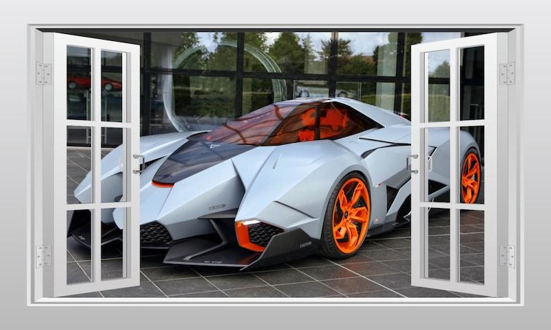 Lamborghini Egoista Supercar 3d Windowscape Wall Art Sticker Etsy