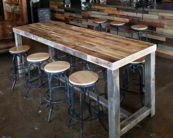 Reclaimed Wood Bar Restaurant Counter Community Rustic Custom Kitchen Coffee Conference Office Meeting Table Pub High Top Casters