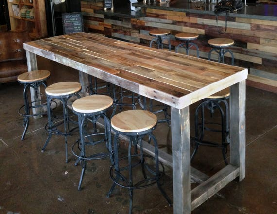Magnificent Reclaimed Wood Bar Table Restaurant Counter Community Communal Rustic Custom Cafe Coffee Conference Office Meeting Pub High Top Long Thin Pdpeps Interior Chair Design Pdpepsorg