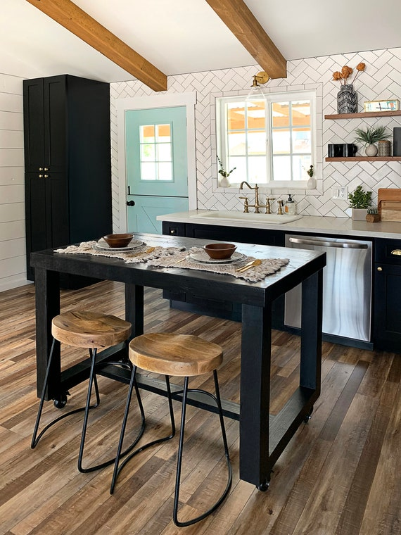 Black Onyx Reclaimed Wood Bar Table Kitchen Island Counter Etsy