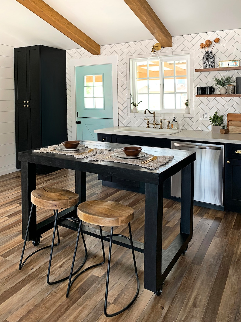 Surprising Black Onyx Reclaimed Wood Bar Table Kitchen Island Counter Community Communal Rustic Conference Office Pub High Top Locking Caster Wheels Download Free Architecture Designs Scobabritishbridgeorg