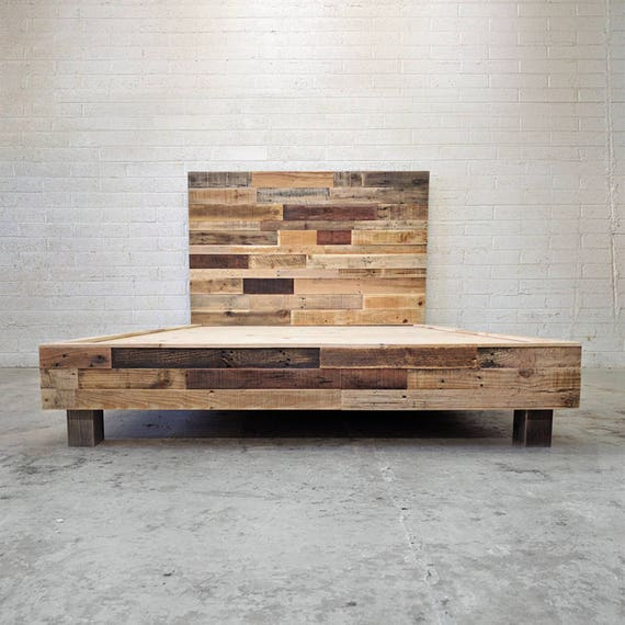 sports shoes e4498 b403b Reclaimed Wood Platform Bed in Natural Base Twin Full Queen King Cali King  California Single Double Foundation Headboard Beach House Cabin