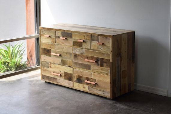 Reclaimed Wood Bedroom Dresser Chest of Drawers Clothes Storage