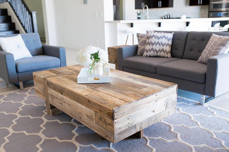 Incroyable Reclaimed Wood Modern Box Coffee Table Rustic Industrial Living Room Beach  House Cabin Loft Office Contemporary Minimalist Handmade Chic