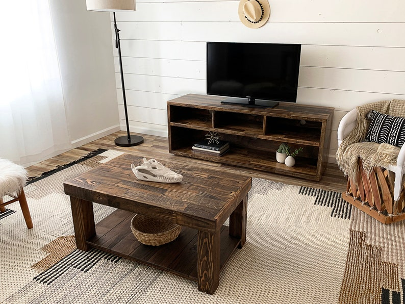 Reclaimed Wood Square Coffee Table Living Room Square Accent End Table  Rustic Furniture Cabin Beach House Cabin