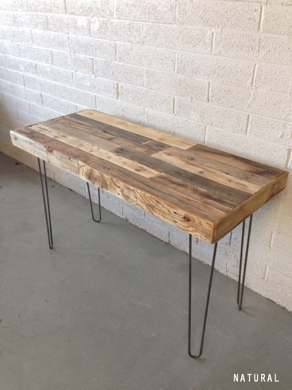 Reclaimed Wood Modern Steel Hairpin Leg Desk Work Table Laptop Etsy - Small metal work table