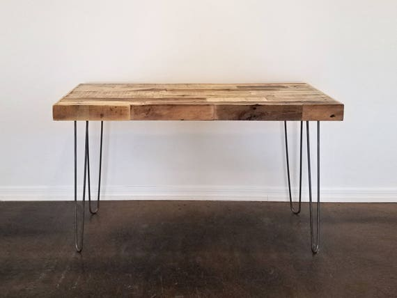Merveilleux Reclaimed Wood Modern Steel Hairpin Leg Desk Work Table Laptop Station  Recycled Metal Small Dorm Large Office Beach House Cabin