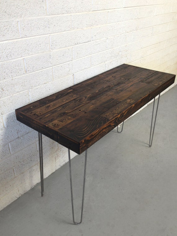 Reclaimed Dark Coffee Espresso Wood Modern Steel Hairpin Leg | Etsy