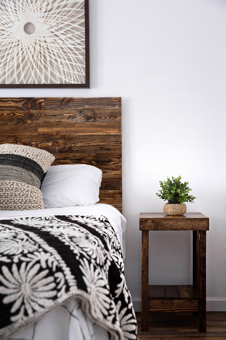Magnificent Reclaimed Wood Discount Bed Set Headboard And Nightstand Bedroom Furniture Custom Shabby Chic Loft Beach Cabin House Dorm Download Free Architecture Designs Grimeyleaguecom