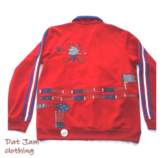 5b00d073a106 Upcycled tri-red track jacket Adidas jacket with altered
