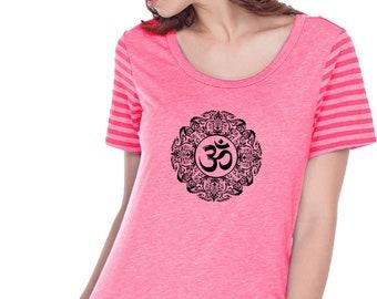 Ladies Yoga Shirt Black Ornate OM Women Striped Jersey Multi Contrast Short Sleeve Tee Shirt = BLKORNATE-WJP0634