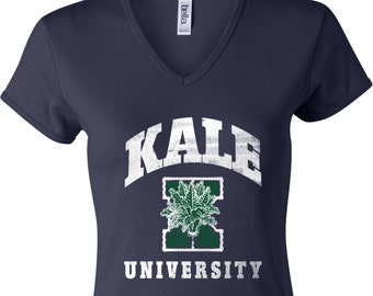 Yoga Clothing For You Ladies Shirt Kale University Darks Womens V-neck Tee T-Shirt = 1005-DKALE