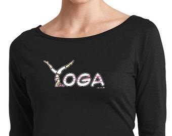Ladies Yoga Shirt Yoga Spelling Ladies Perfect Weight 3/4-Sleeve Tee Shirt = YOGASPELLING-DM107L