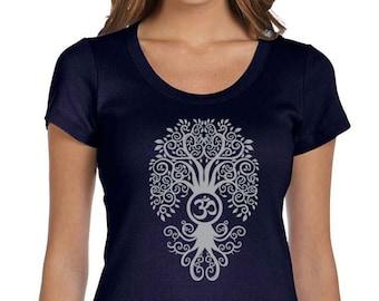 Yoga Clothing For You Ladies Shirt Grey Bodhi Tree Scoop Neck Tee Shirt = 1003-GBODHI
