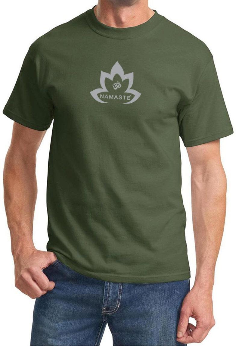 7f0300c331 Yoga Clothing For You Mens Shirt Grey Namaste Lotus Tee | Etsy