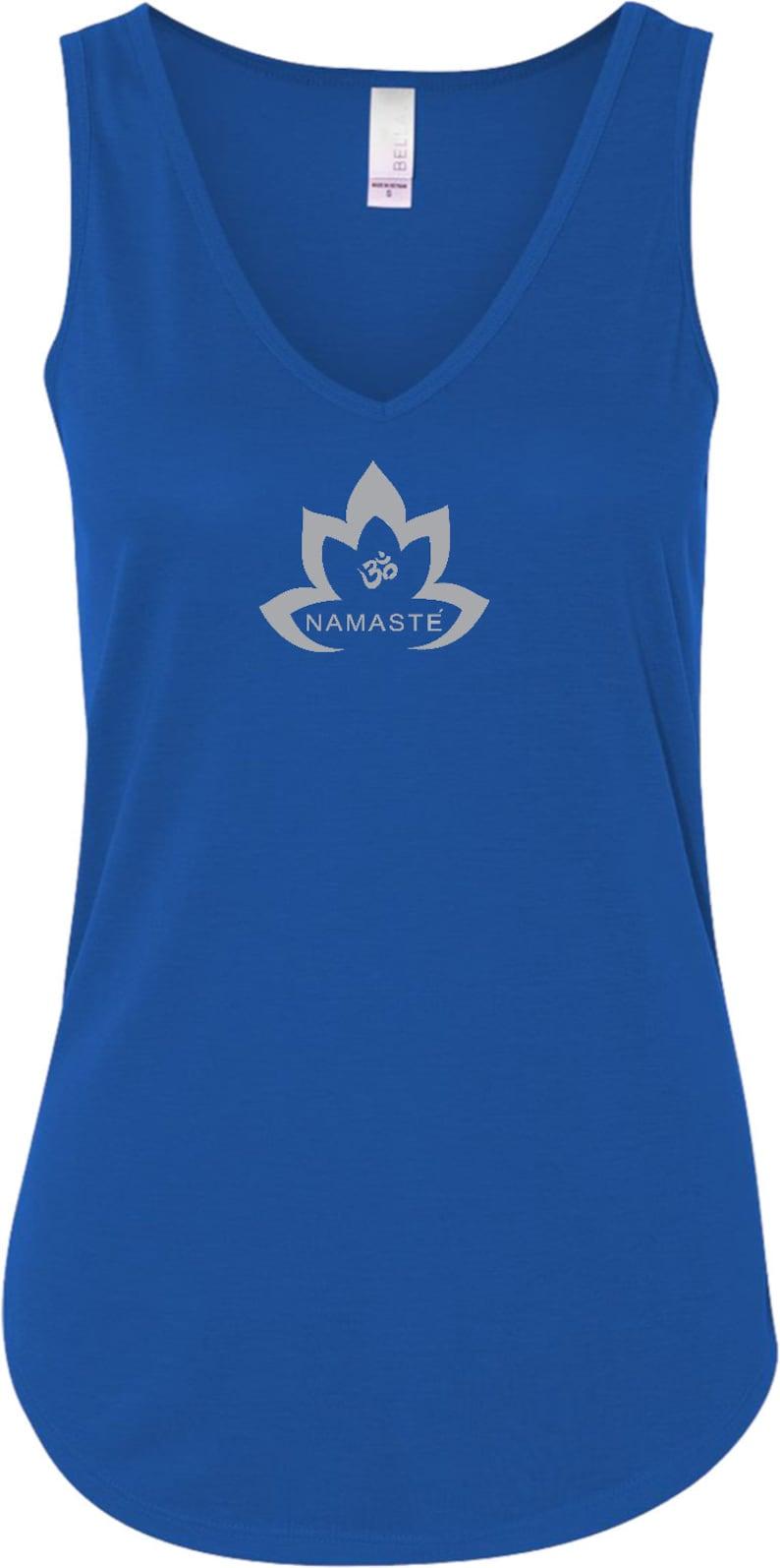 8cdd0b2cfb Grey Namaste Lotus Ladies Yoga Flowy V-Neck Tank Top | Etsy