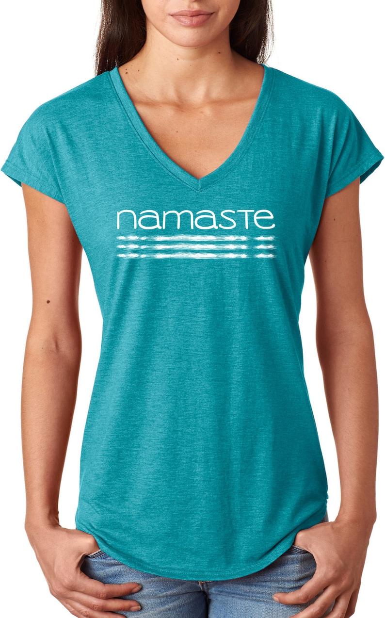 c3bbfceb0e Namaste Lines Ladies Yoga Tri Blend V-Neck Tee Shirt | Etsy