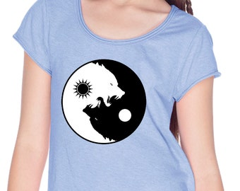 Yoga Clothing For You Girls Shirt Yin Yang Wolves Fringe Tee T-Shirt = GJP0673-WOLVES