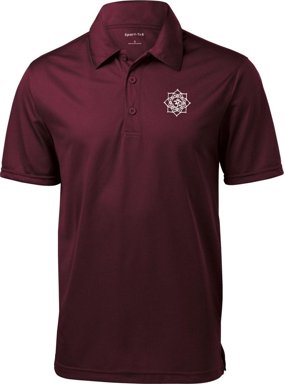 White Lotus OM Patch Pocket Print Men/'s Yoga Polo Tee T-Shirt = WLOTUSOM-PP-ST690