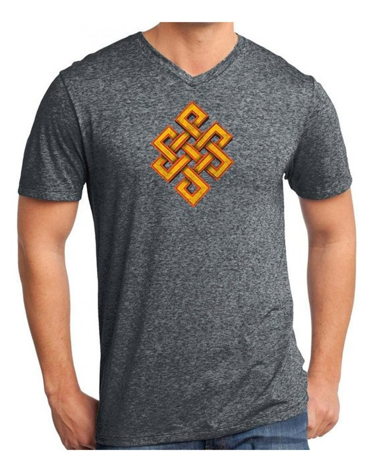 Yoga Clothing For You Mens Endless Knot Microburn V Neck Tee Shirt DT161 KNOT