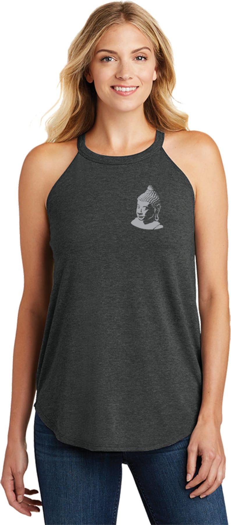 Buddha Pocket Print Ladies Yoga Tri Blend Rocker Tanktop = BUDDHA-PP-DT137L