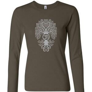 back print Ladies Yoga Lightweight Hoodie Yoga Tee Shirt W3101-BODTREE-MIDBACK Bodhi Tree