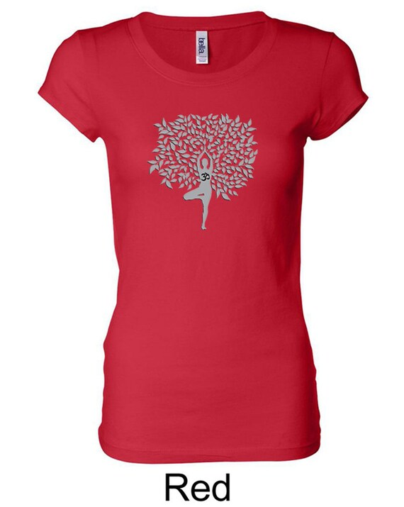 Grey Tree Pose Ladies Yoga Longer Length Tee T Shirt = 8101 GTREEPOSE