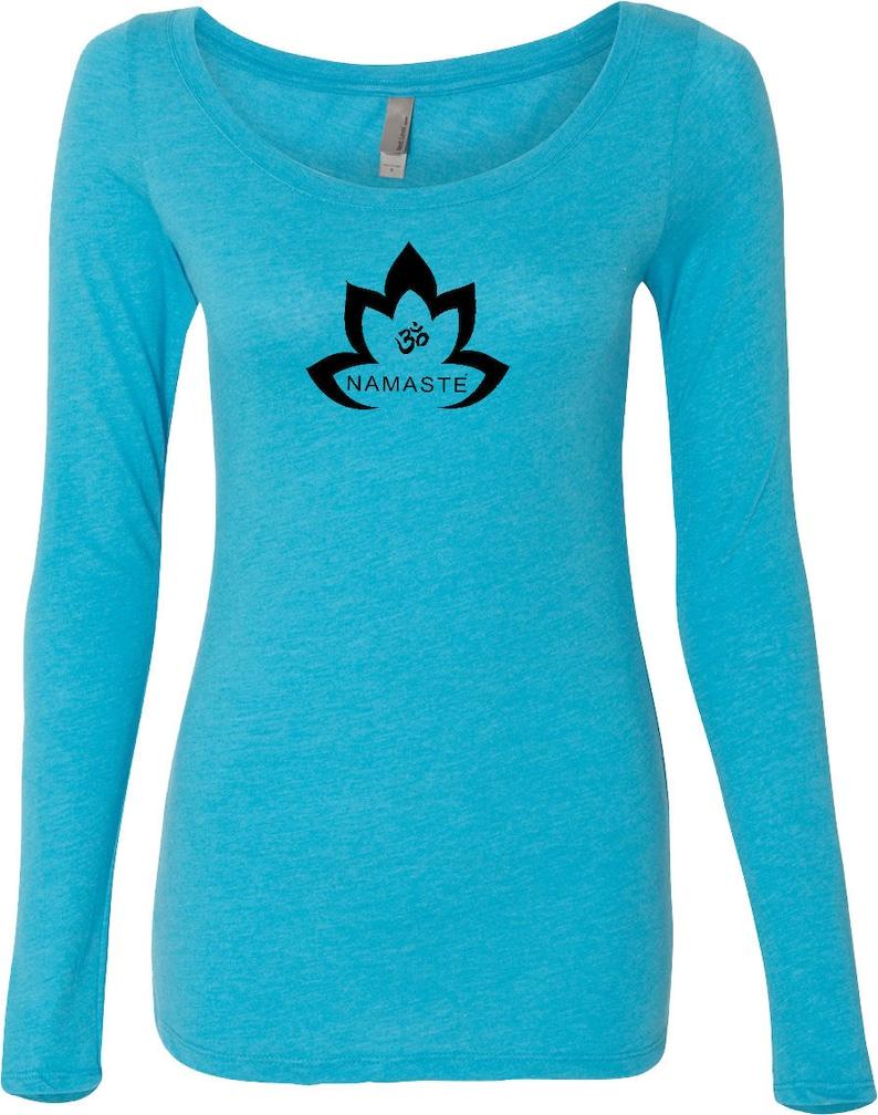 db9f810640 Black Namaste Lotus Ladies Yoga Triblend Long-Sleeve Scoop Tee | Etsy
