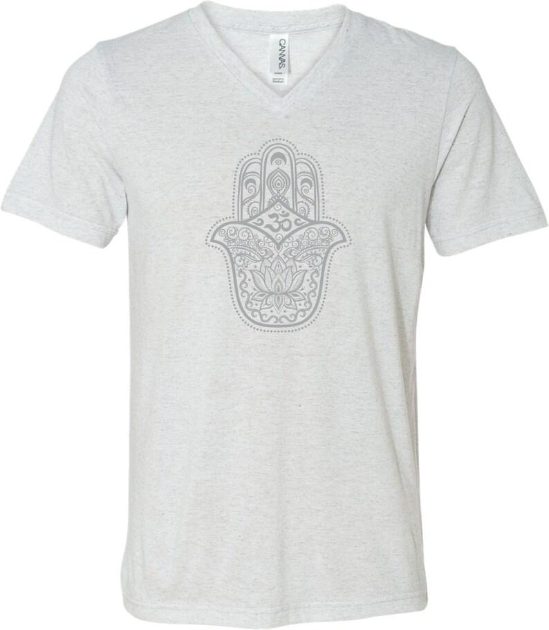 5b943c3852 Grey Hamsa OM Adult Unisex Yoga Triblend V-neck Tee Shirt | Etsy