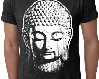 Yoga Clothing For You Mens Big Buddha Head Burnout Tee Shirt = NL6110-BIGBUDD