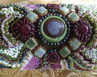 Earth and sea beaded embroidery medieval bracer