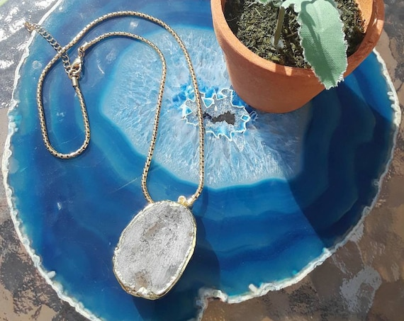 Chunk Geode Goldtone Necklace