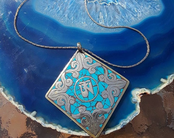 Vintage Tibetan Om Meditation Symbol Necklace, Silver with Turquoise Inlay