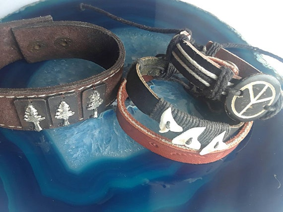 Set of 4 Vintage Leather Cuffs for Men or Unisex, Nature Theme Leather Wrap Bracelets