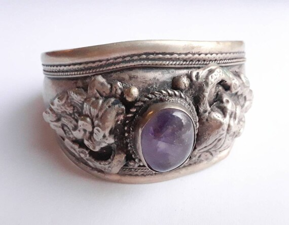 Amethyst Cuff Bracelet, Vintage Boho Couture