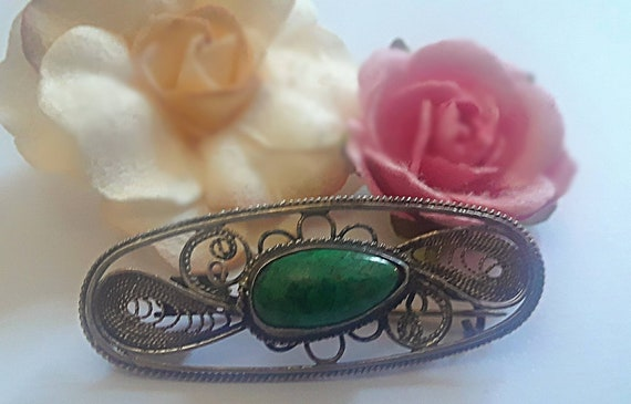 Mothers Day Sale! Vintage Navajo Handmade Scarf Clip, Sterling Silver and Turquoise, Beautiful Filigree Native American small pin