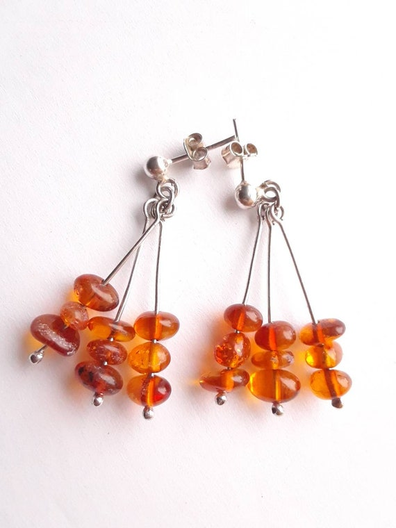 Amber and Silver Dangle Earrings, Vintage