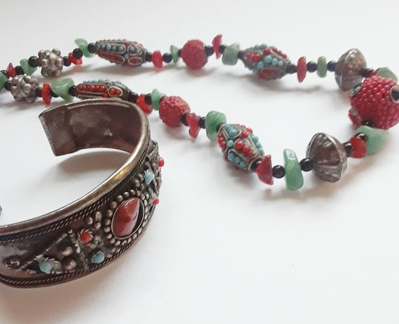 Vintage Nepalese Jewelry Set, Beautiful and Vibrant Vintage Necklace and Cuff Bracelet