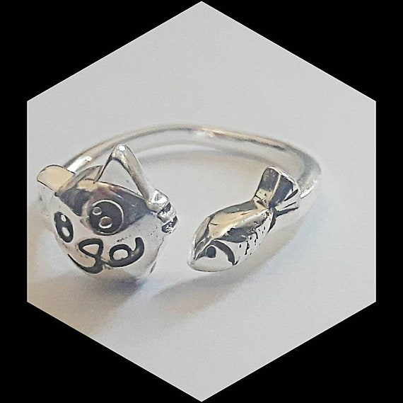Sweet Cat Expression Ring, Sterling Silver, Adjustable Size up to 7