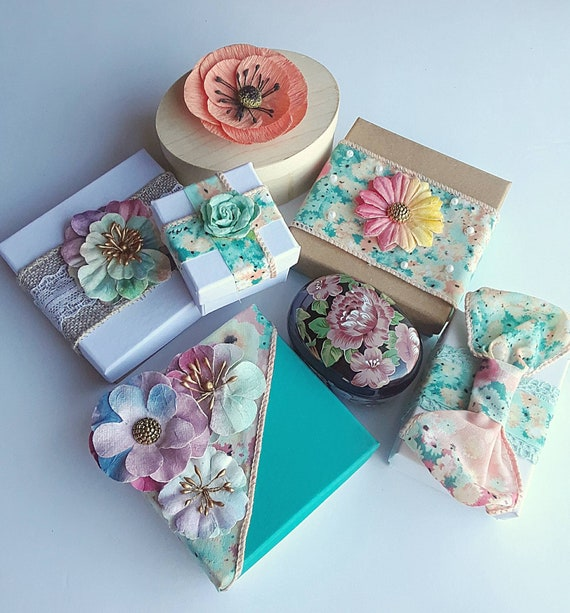 Gift wrapping using spring floral gift Boxes, Hand Made, Your Pick 5.99 Each!