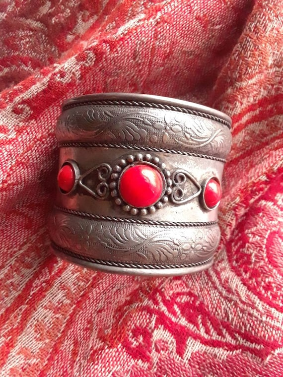 Tall Vintage Coral Indian Cuff Bracelet