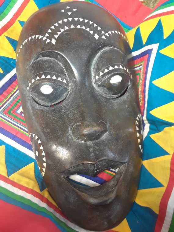 Indonesian Mother of Pearl Inlay Mask, Handmade