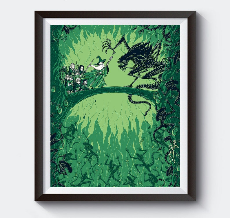 You shall not reproduce Alien VS LOTR art print image 0