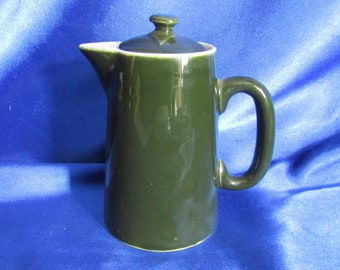 Rare Victorian Pilivite Pottery Green Lidded Milk Jug, Made by C P & Co, Mehun-sur-Yevre, France