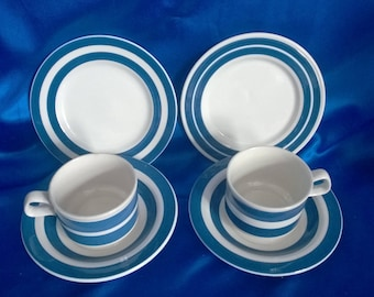 Pair of Trio's Staffordshire Chef Ware Blue And White Striped