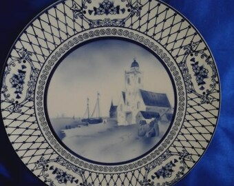 Vintage Blue & White German Wall Hanging Charger/Plate