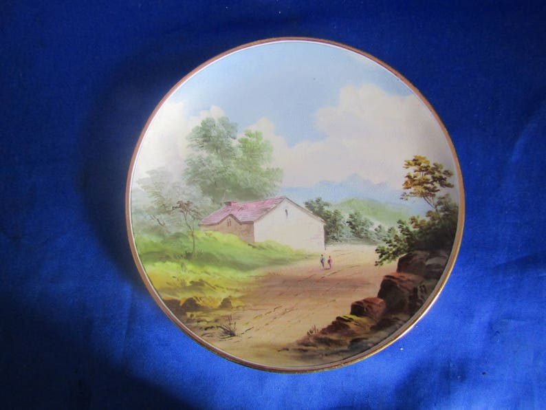 Decorative Wall-hanging and 2 People Vintage Nippon Plate with a Hand Painted scene of a Farmhouse