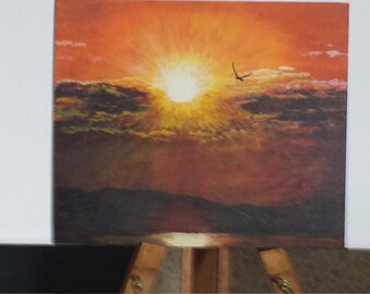 New sun . Agrilic painting on board.