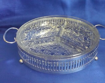 Glass serving dish 3 sections hors d'oeuvre with silver plated stand