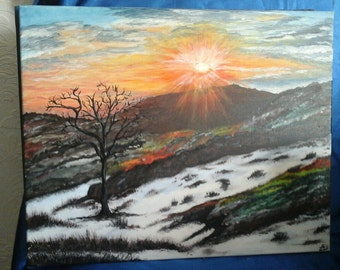 Last of the snow. original painting by Jacqui Gill.